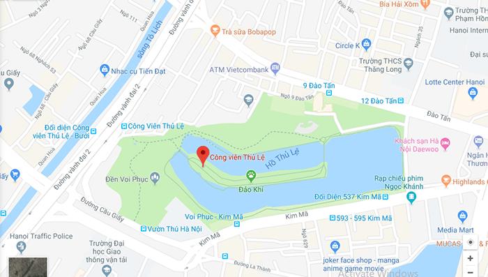 Công viên Thủ Lệ trên bản đồ