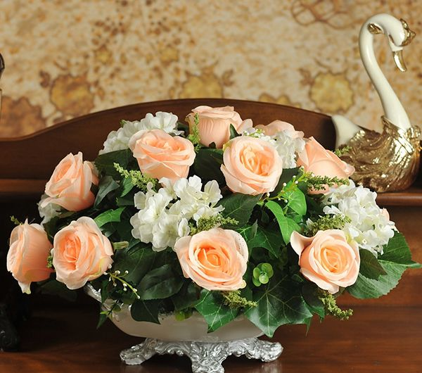 Lẵng hoa cưới để bàn hình bầu dục